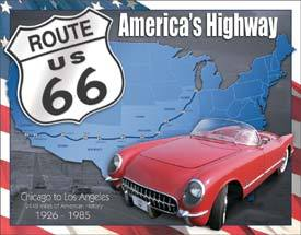 American Advertising Tin Sign - Vintage Wall Decor - Route 66