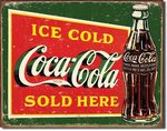 Plaque tole publicitaire  Coca Cola Ice Cold Green