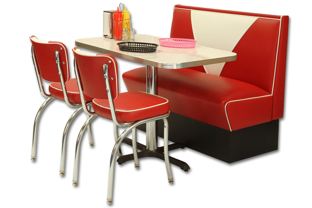 American Retro Diner Set - Vintage Booth, 2 Retro Diner Chairs, 1 Table red glacier boomerang