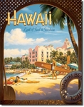 American Advertising Tin Sign - Vintage Wall Decor - Hawaii Sun and Surf