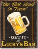 American Advertising Tin Sign - Vintage Wall Decor - Moore Luchy's Bar