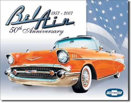 American Advertising Tin Sign - Vintage Wall Decor - Bel Air 50th Anniversary