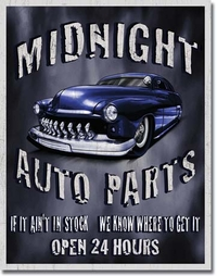 American Advertising Tin Sign - Vintage Wall Decor - Legends Midnight Auto Part