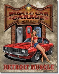 Plaque tole peinte Déco US - Legends Muscle Car Garage