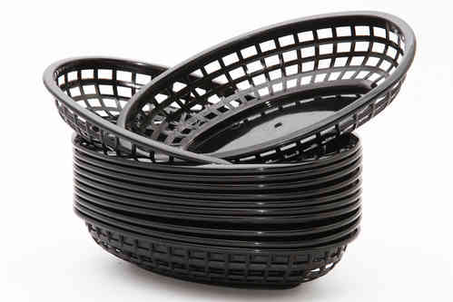 Retro tableware Basket, Oval Black (Bulk 12 baskets)