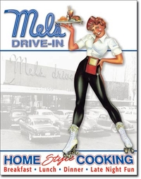 American Advertising Tin Sign - Vintage Wall Decor - Mels Diner 50's Happy Days
