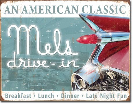 American Advertising Tin Sign - Vintage Wall Decor - Mels Drive Inn