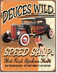 American Advertising Tin Sign - Vintage Wall Decor - Deuces Wild Speed Shop