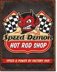 Plaque publicitaire vintage américaine - Speed Demon Hot Rod Shop