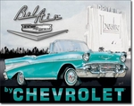 American Advertising Tin Sign - Vintage Wall Decor - Bel Air by Chevrolet