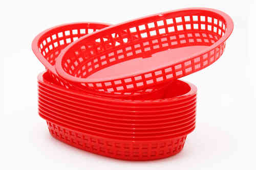 Retro tableware Basket, Oval Red (Bulk 12 baskets)
