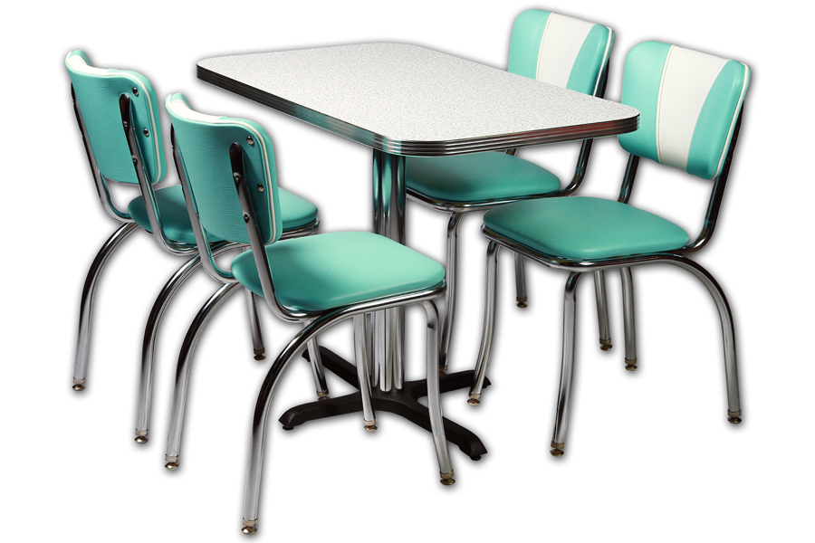 American Retro Diner Set - 4 Retro diner chairs, 1 Table vintage