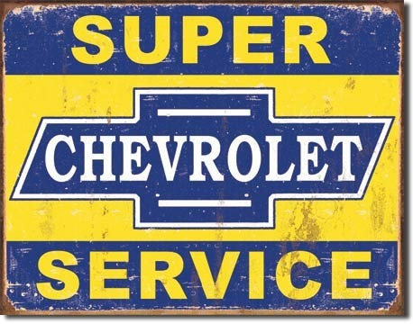 American Advertising Tin Sign - Vintage Wall Decor - Chevrolet Service