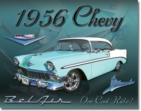 American Advertising Tin Sign - Vintage Wall Decor - Chevy 1956