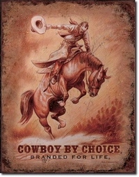 Plaque publicitaire vintage américaine discount - Cowboy Branded for Life