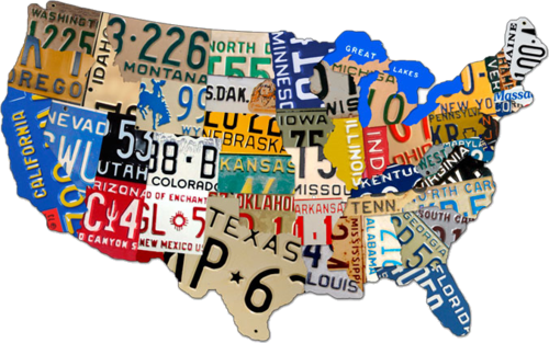 American Retro Tin Sign - Usa Map