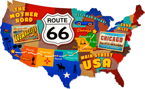 American Retro Tin Sign - Usa Map Route 66