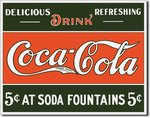 Plaque publicitaire americaine - Coca Cola 5 Cents Fountain