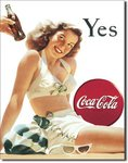 Plaque publicitaire americaine - Coca Cola Yes White Bathing