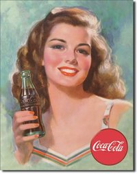 Plaque publicitaire americaine - Coca Cola Beautiful Brunette