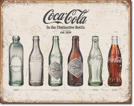 Plaque publicitaire americaine - Coca Cola Bottle Evolution