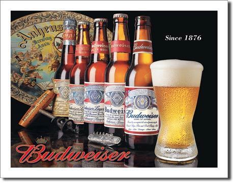 American Advertising Tin Sign - Vintage Wall Decor - Budweiser History of Bud
