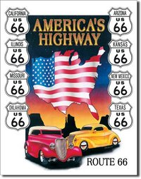 American Advertising Tin Sign - Vintage Wall Decor - America's Highway