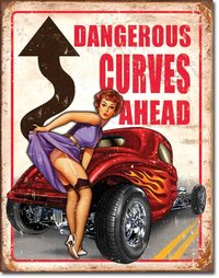American Advertising Tin Sign - Vintage Wall Decor - Dangerous Curves Ahead