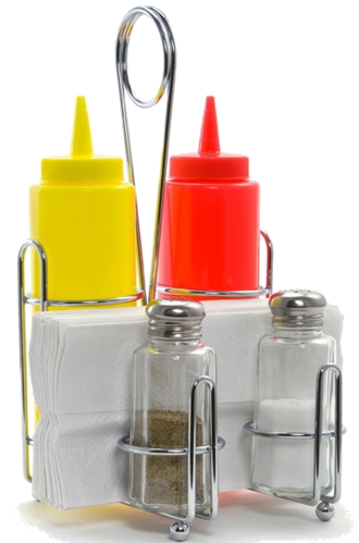 Combo Rack CHR - For Ketchup & Mustard (with salt & pepper dispensers)