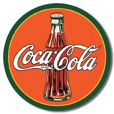 American Advertising Tin Sign - Vintage Wall Decor  - COKE - Round 30's Bottle & Logo