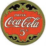 American Advertising Tin Sign - Vintage Wall Decor  - COKE - Round 5 Cents