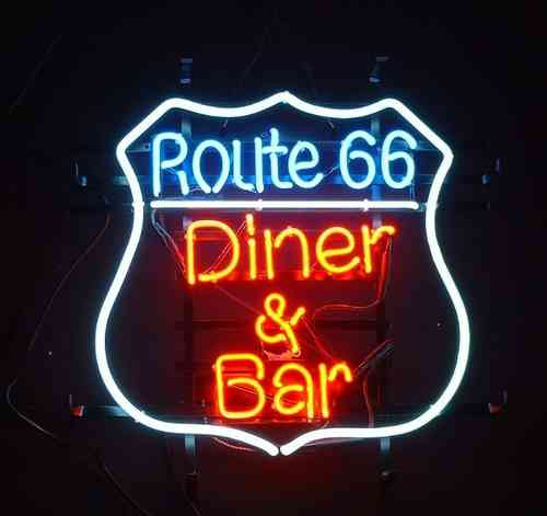 Neon Sign ROUTE 66 DINER ET BAR