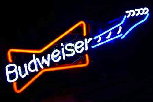 Neon Sign GUITARE BUDWEISER
