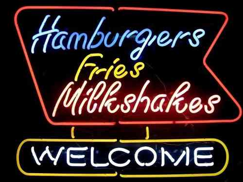 Neon Sign HAMBURGER FRIES MILKSHAKES WELCOME