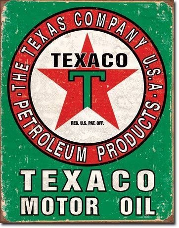 American Advertising Tin Sign - Vintage Wall Decor Texaco Oil Weathered