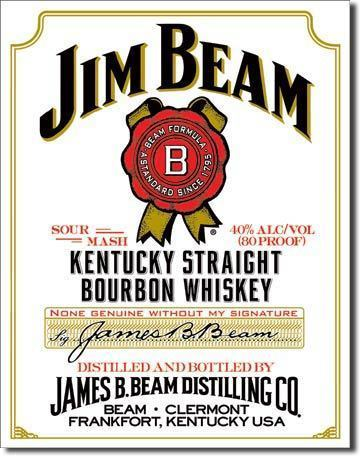 Jim Beam - White Label American Advertising Tin Sign - Vintage Wall Decor
