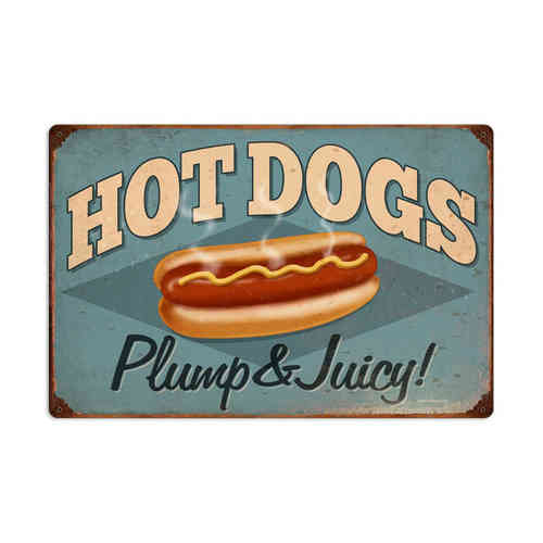 American Retro Tin Sign - Hot Dogs