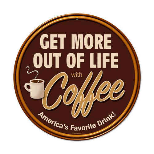 American Retro Tin Sign -  Get More Coffee