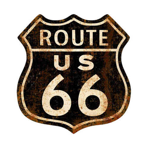 American Retro Tin Sign - Route 66 Rusty