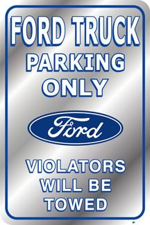 American Advertising Tin Sign - Vintage Wall Decor - Ford Truck Parking Only