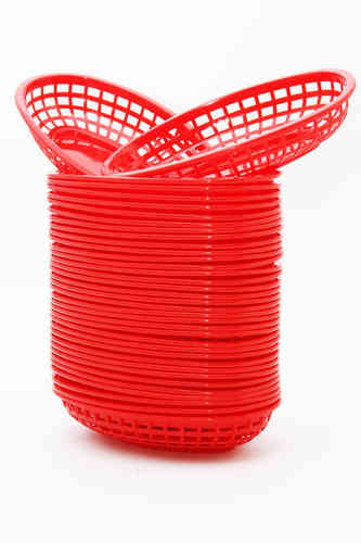 Retro tableware Basket, Oval red (Bulk 36 baskets)