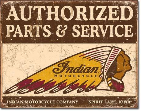 American Advertising Tin Sign - Vintage Wall Decor Authorized Indian Parts and Service