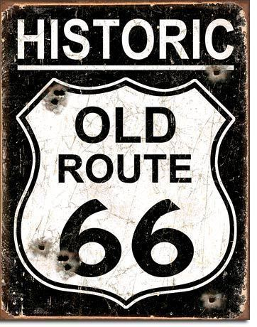 American Advertising Tin Sign - Vintage Wall Decor -Old Route 66 - Weathered