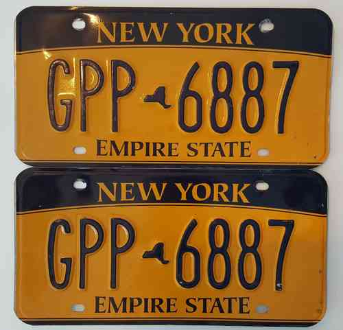 Genuine Licence Plate USA - NEW YORK - Lot of 2 same plates