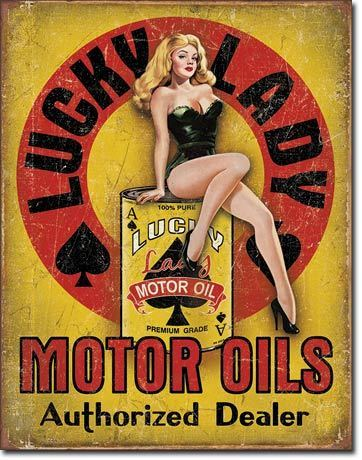 American Advertising Tin Sign - Vintage Wall Decor - Lucky Lady Motor Oil