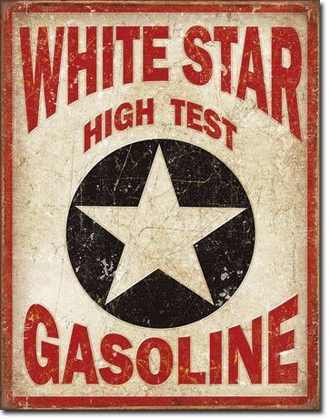 American Advertising Tin Sign - Vintage Wall Decor - White Star Gasoline