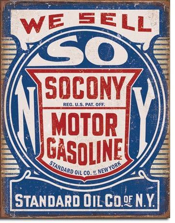 American Advertising Tin Sign - Vintage Wall Decor - Socony Gasoline