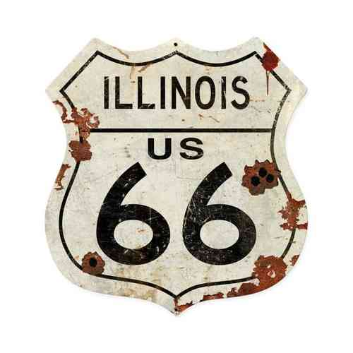 Illinois US 66 Shield Vintage Plasma
