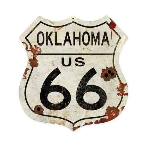 Oklahoma US 66 Shield Vintage Plasma