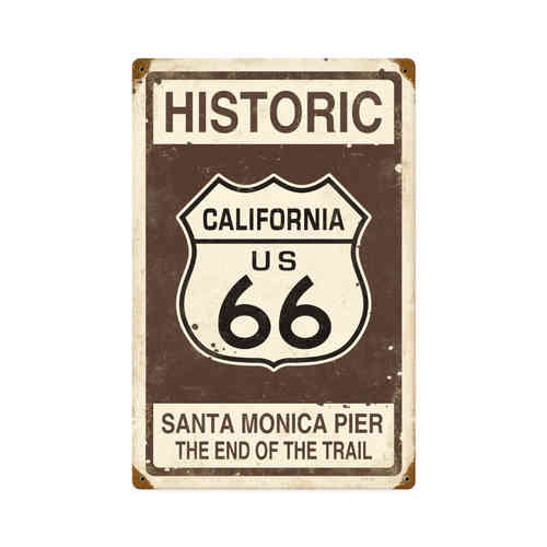 Plaque publicitaire americaine vintage - Historic Route 66